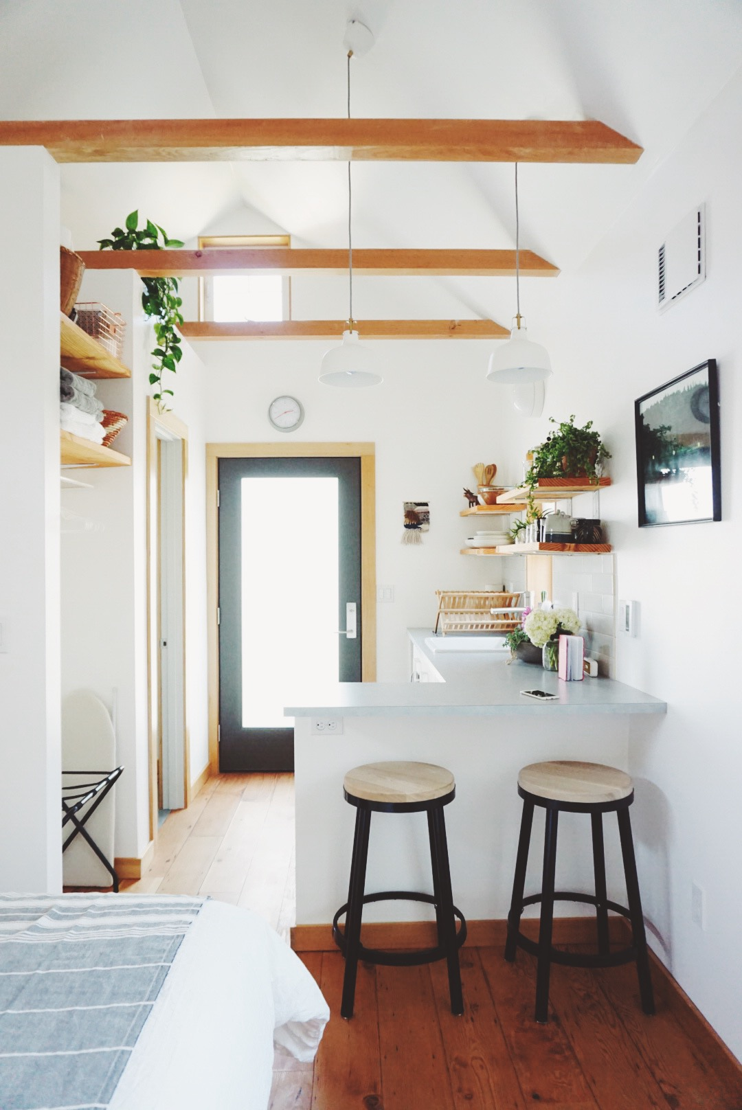 Exposed beams in the Portland Tiny House